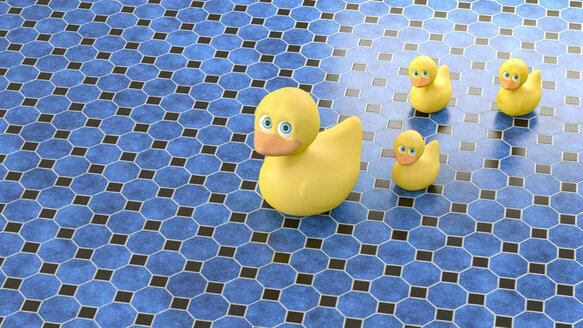 3D rendering, Family of rubber duck on blue tiled floor - AHUF00517
