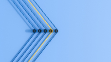 3D rendering, Arrow shape made from colorful threads, showing the direction - AHUF00523