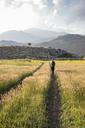 Greece, Peloponnese, Corinthia, Stymfalia, Ancient plateau, Lake Stymphalia, hiker - MAMF00183