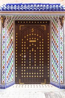 Morocco, Marrakesh, ornated entrance door of a Moroccan Riad - MMAF00491