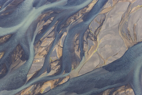Aerial view of landscape with river coloured by glacial melt. - MINF08809