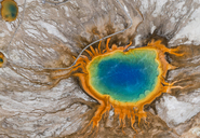 Aerial view of Grand Prismatic Spring, Midway Geyser Basin, Yellowstone National Park, Wyoming, USA. - MINF08866