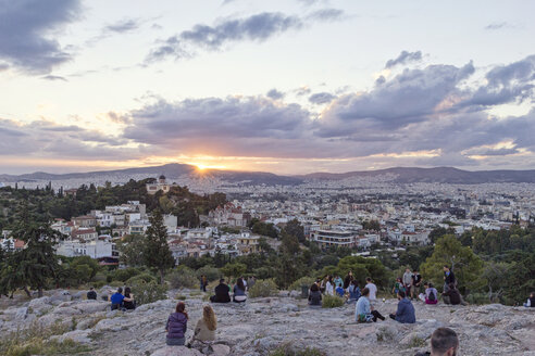Greece, Athens, View from Areopagus with people at sunset - MAM00206