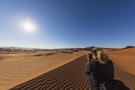 Africa, Namibia, Namib desert, Naukluft National Park, female photograper - FOF10070