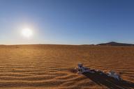 Africa, Namibia, Namib desert, Naukluft National Park, sand dune, skeleton in the sand, against the morning sun - FOF10094