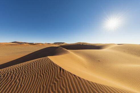 Africa, Namibia, Namib desert, Naukluft National Park, sand dunes against the sun - FOF10097
