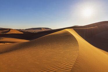 Africa, Namibia, Namib desert, Naukluft National Park, sand dunes against the sun - FOF10106