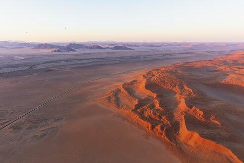 Africa, Namibia, Namib desert, Namib-Naukluft National Park, Aerial view of desert dunes, air balloons - FOF10115