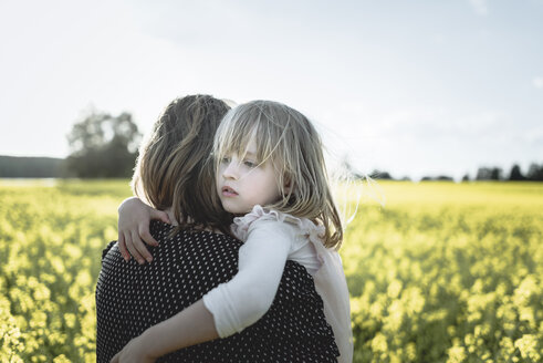 Portrait of little girl on her mother's arms in rape field - PSIF00006