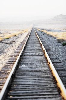 Railroad tracks in a desert landscape. - AURF01486