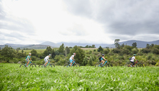 Friends mountain biking in idyllic, remote field - CAIF21329