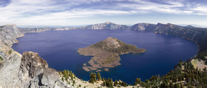 Wizard Island, the larger of the two islands on OregonÔÇÖs Crater Lake, the deepest lake in the USA at 1,943 feet. - AURF01723