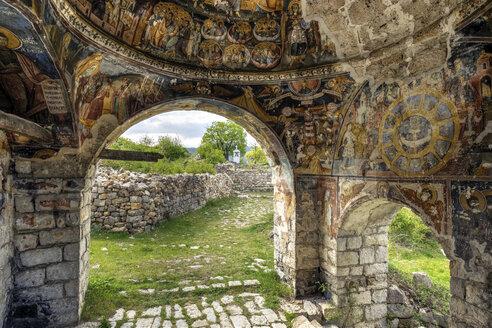 Albania, Qark Korca, Vithkuq, Manastiri i Shen Pjetrit, Monastery St. Peter and Paul, fresco paintings in the porch - SIE07938