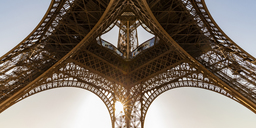 France, Paris, Eiffel Tower, worm's eye view at sunset - WDF04795