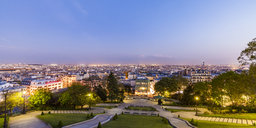 France, Paris, Panoramic cityscape from Montmartre at blue hour - WDF04813