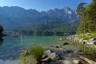 Germany, Upper Bavaria, view to Zugspitze with Lake Eibsee in the foreground - LBF02026