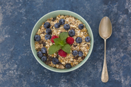 Bowl of muesli with raspberries and blueberries - JUNF01093
