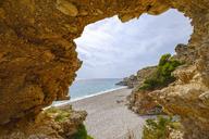 Albania, Ionean sea, Albanian Riviera, rock arch on the beach of Dhermi - SIEF07969