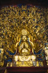 China, Sichuan Province, Dazu Rock Carvings, golden Buddha statue - KKAF01469
