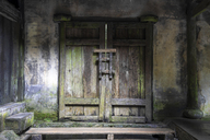 China, Sichuan Province, Wulong, closed wooden portal - KKAF01472