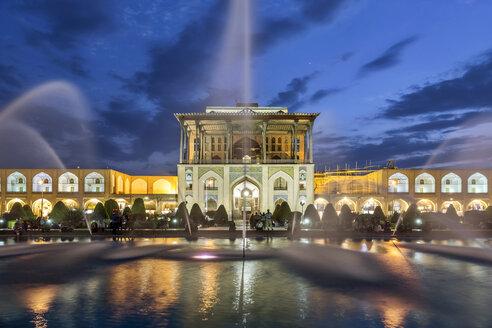 Iran, Isfahan Province, Isfahan, Aali Qapu Palace at blue hour - FPF00204