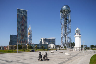 Georgia, Adjara, Batumi, Miracle Park with Alphabetic Tower and lighthouse - WWF04365