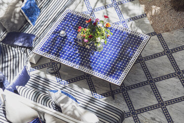 Morocco, table with blue tiles - MMAF00536