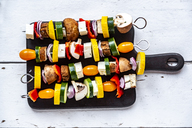 Vegetarian grill skewers, tomato, yellow and green zucchini, tofu, feta, onion and champignon - SARF03924