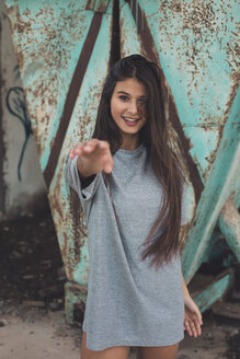 Portrait of a smiling teenager girl with long brown hair - ACPF00312