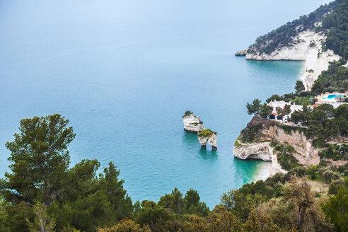 Italy, Puglia, Mattinata, Adriatic Sea, Faraglioni beach and Baia delle Zagare beach - FLMF00009