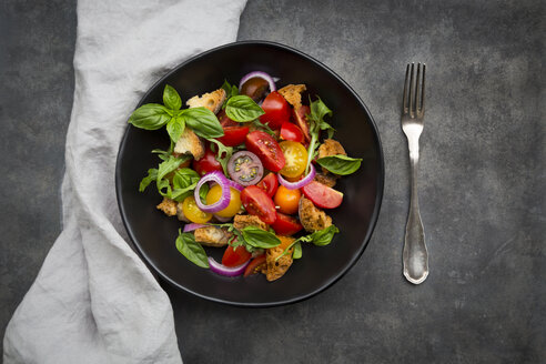Panzanella made of roasted Ciabatta, rocket, red onions, tomatoes and basil - LVF07406