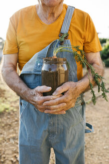 Senior man holding glass jar with soil and growing carrot - JRFF01836