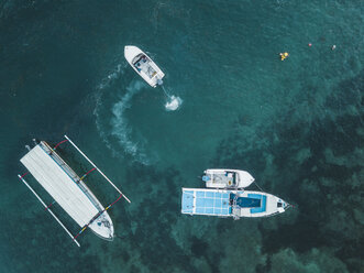Indonesia, Bali, Aerial view of motorboats from above - KNTF01284