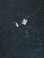 Indonesia, Bali, Aerial view of shrimp farm - KNTF01287