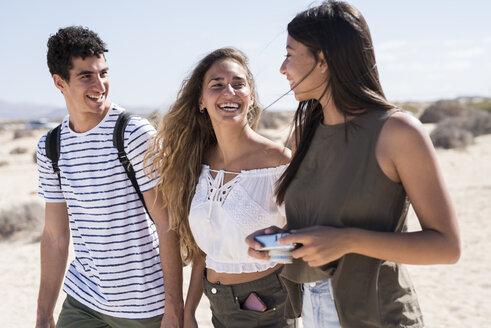 Friends walking on the beach, talking - PACF00105