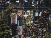 Indonesia, Bali, Aerial view of airplane near the road - KNTF01308