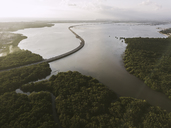 Indonesia, Bali, Aerial view of a road crossing mangrove forest at the coast - KNTF01311