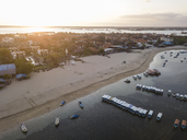 Indonesia, Bali, Aerial view of Benoa beach at sunset - KNTF01320