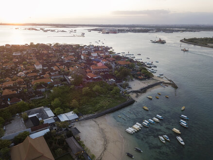 Indonesia, Bali, Aerial view of Benoa beach at sunset - KNTF01323