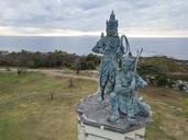 Indonesia, Bali, Aerial view of Nusa Dua beach, bronze sculptures - KNTF01347