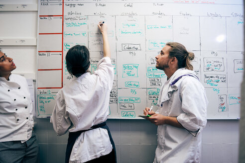 Female chef writing menu on whiteboard by colleagues in kitchen - MASF08655