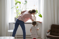 Daughter looking at designer measuring window at home - MASF08757