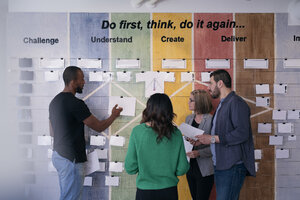 Multi-ethnic creative business people making strategies on paper stuck on wall in office - MASF08964