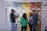 Creative businessman explaining strategy to colleagues over paper stuck on wall in office - MASF08967