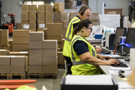 Side view of confident workers using computers at desk in distribution warehouse - MASF09114
