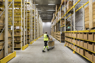 Full length of senior male warehouse worker pushing cart on aisle in industrial building - MASF09162