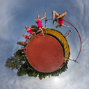 Female high jumper, little planet view, multiple image - STSF01743