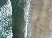 Indonesia, Bali, Aerial view of Padma beach, surfer - KNTF01384