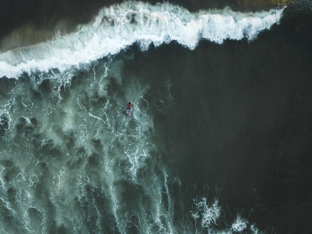 Indonesia, Bali, Aerial view of surfer - KNTF01396