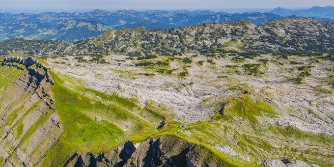 Austria, Allgaeu Alps, Vorarlberg, Kleinwalsertal, Gottesacker, Panoramic view from Hoher Ifen to Gottesacker plateau - WGF01247